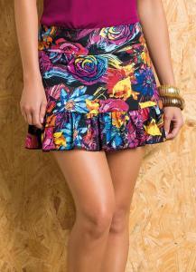 Short saia floral com babado na barra R$14,99