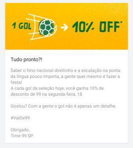 10% OFF na 99POP a cada gol do Brasil