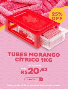 Bala Fini Tubes Morango Cítrico 1kg - R$20,62