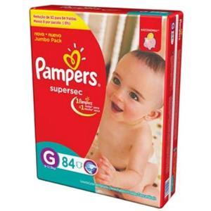 84 Fraldas Pampers Supersec Jumbo Bag Tamanho G  - R$59