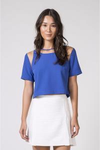 Blusa quadrada transparência azul - Más - R$29,40