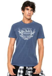 Camiseta Von Dutch Logo Degrade - Azul R$32