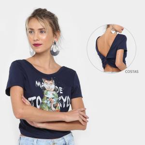 Camiseta Colcci Estampa Gato Feminina - Marinho R$59