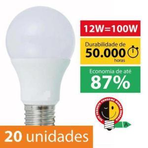 Kit Com 20 Lâmpadas Super Led Bulbo 12w Bivolt E27 Branco Quente