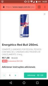 Rappi Curitiba - Red Bull 250ml por apenas 1 real