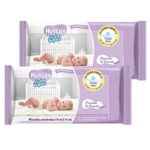 Kit de Lenços Umedecidos Huggies Baby Wipes Lavanda - 96 Unidades  R$10