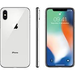 "[Cartão submarino] iPhone X Prata 64GB Tela 5.8"" IOS 11 4G Wi-Fi Câmera 12MP - Apple"