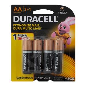 Pilha Duracell AA alcalina com 4 unidades - R$9,90