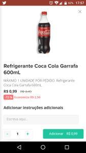 Rappi Curitiba - Refrigerante Coca-Cola 600ml 0,99