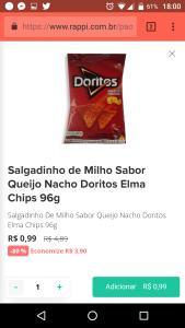 Rappi Curitiba - Salgadinho Doritos 96gr 0,99
