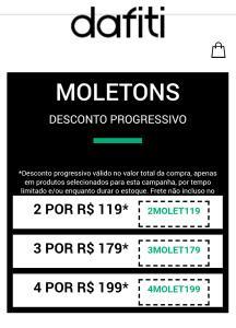 2 moletons por R$ 119,00, 3 moletons por R$ 179,00, 4 moletons por R$ 199,00 na Dafiti.