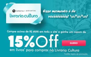 Ganhe cupom de 15% OFF na Livraria Cultura em compras a partir de R$49,90 na Netfarma