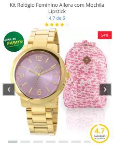 Kit Relógio Feminino Allora com Mochila Lipstick - R$ 169