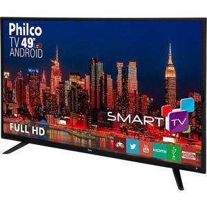 "Smart TV LED 49"" Philco PH49F30DSGWA Full HD com Conversor Digital 2 HDMI 2 USB Wi-Fi - R$1417"
