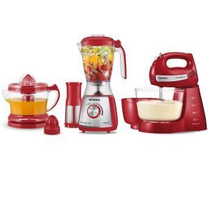 Kit Mondial Gourmet Red Premium Inox: Batedeira + Liquidificador + Espremedor de Frutas - Vermelho/Inox - R$160