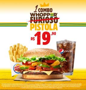 Combo Whopper Pistola no Burger King - R$19,90