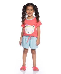 Pijama Infantil Coral e Azul - Villa Enzo - R$18,39