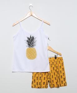 Pijama Curto Adulto Branco - Zulai - 28,79