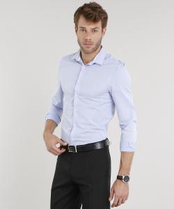 camisa masculina slim listrada manga longa azul claro