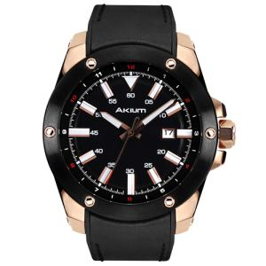 Relógio akium masculino couro preto - 03e47gl02-black - R$343