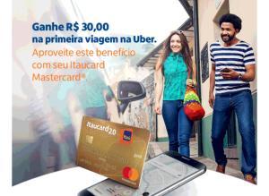 R$30 OFF em uma corrida no Uber pagando com cartão ItauCard