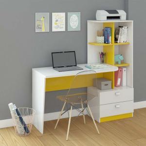 Mesa para Computador Elisa 2gv Branco e Amarelo - R$218