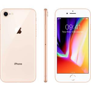 "iPhone 8 Dourado 64GB Tela 4.7"" IOS 11 4G Wi-Fi Câmera 12MP - Apple - R$2991"