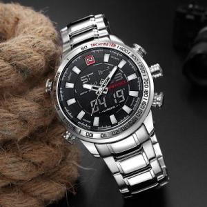 NAVIFORCE 9093 (prata)   Relógio  Masculino analogico e DigitalResistencia a agua 3 ATM - R$72
