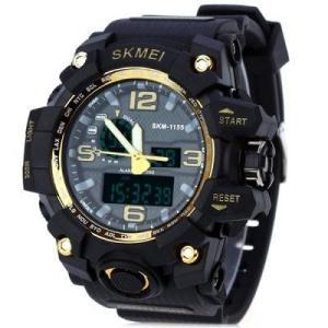 SKMEI 1155 Relógio Masculino Digital LEDRelógio Masculino Com Duplo Movimento À Prova D'Água Com Luz Alarme E Dupla Hora - R$30