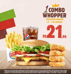 Combo Whopper com batata pequena + 4 BK chickens no Burger King - R$21,90