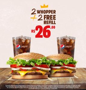 2 Whopper + 2 refill no Burger King - R$26