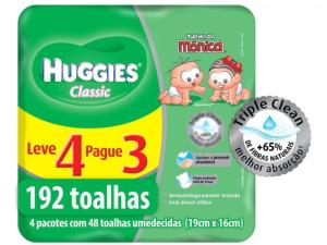 192 Lenços Umededecidos Huggies Turma da Mônica - Classic - R$22