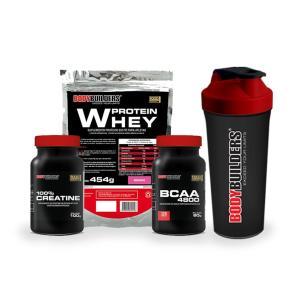 Kit Whey Protein 500 G + BCAA 800 120 Tabletes + 100% Creatine 100 G + Coqueteleira - Bodybuilders