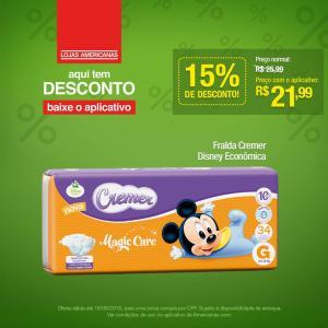 [Americanas - Loja Física] Fralda Disney Econômica Cremer por R$ 21,99