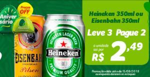 Cerveja EISENBAHN E HEINEKEN LATA 350ML 2,49 CADA (3X2)
