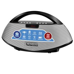 Som Portátil Mondial SK01 Rádio FM, USB, Auxiliar, Micro SD, Bluetooth 15W Bivolt Preto - R$60