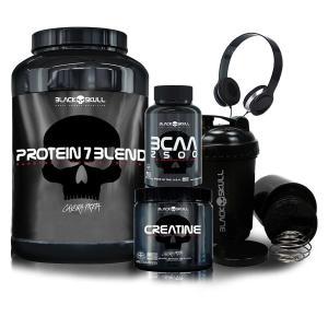 Whey Protein 7 + BCAA + Creatina - Black Skull + Brindes por R$ 151
