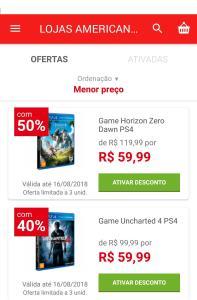 [App Americanas - Loja Física] Jogos PS4