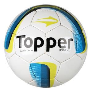 Bola Futebol Society Topper Strike VIII - Branco e Azul - R$34