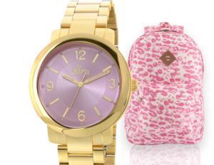 Kit Relógio Feminino Allora + Mochila Lipstick R$170