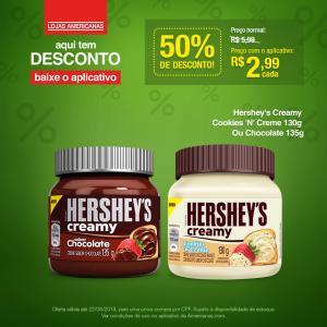 [Americanas - Loja Física] Hershey's Creamy Cookies 'N' Creme 130g ou chocolate 135g por R$ 2,99