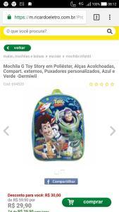 Mochila G Toy Story em Poliéster, Alças Acolchoadas, Compart. externos, Puxadores personalizados, Azul e Verde -Dermiwil