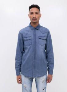 Camisa em Jeans com Bolsos $79,90