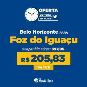 Voos: Belo Horizonte / Foz do Iguaçu, só ida, com taxas - Saída em 17/11 - R$176