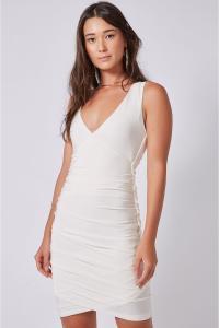 Vestido MÁS Animale Drapê Transpasse Frente - Off White - R$79