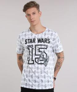 Camiseta estampada Star Wars branca - R$25