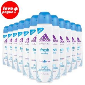 12 Desodorantes Aerosol Antitranspirante Adidas Fresh Feminino 150ml - R$96