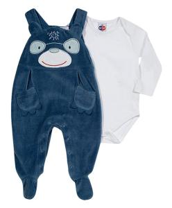 Jardineira Bebê Azul médio com Body - Tip Top R$70