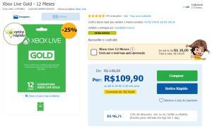 Xbox Live Gold - 12 Meses - 25% de desconto + 12% no Boleto/Cartão