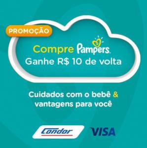 Vai de Visa - A cada compra a partir de R$ 50 em produtos Pampers nas lojas Condor, você ganha R$ 10 na fatura